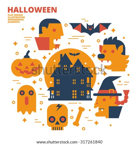 Halloween, Flat Design, Illustration - stock vector