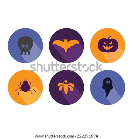 Halloween flat icons. Vector illustration  - stock vector