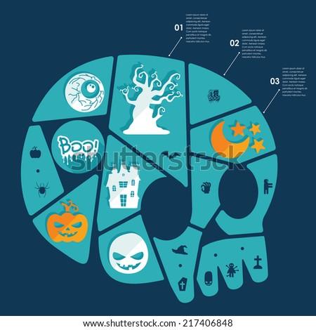 Halloween flat infographic - stock vector
