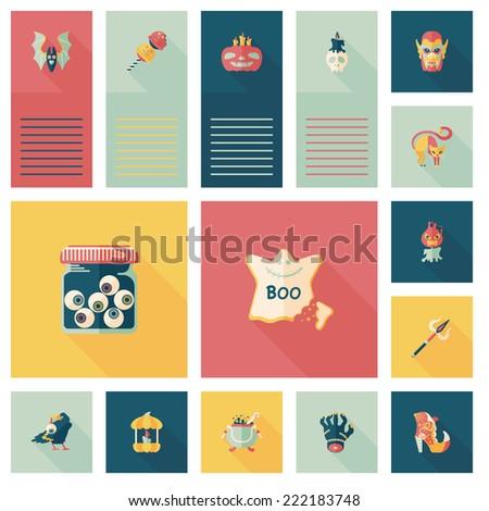 Halloween flat ui background set - stock vector