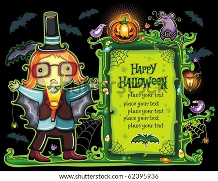Halloween frame with cute boy dressed as a vampire bat with a flashlight in his hands. with place for your text.