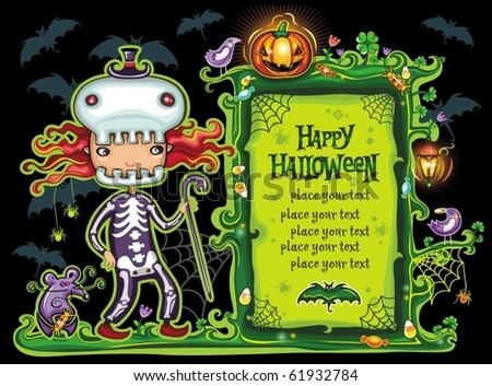 Halloween frame with cute girl dressed as a skeleton. with cane in her hand. with place for your text. - stock vector