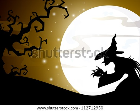 Halloween full moon night background with spooky tree and witch. EPS 10. - stock vector