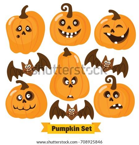 Halloween Funny Pumpkin Vector Icons Set Stock Vector 708925846 ...