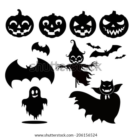 Set Funny Halloween Cartoons Cute Halloween Stock Vector ...