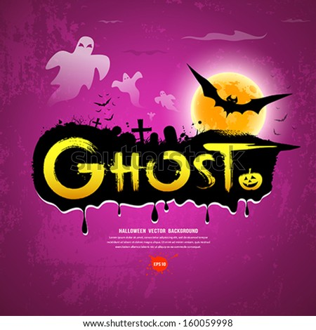 Halloween Ghost message on purple background, vector illustration - stock vector