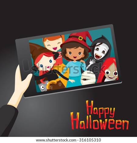 Halloween Ghosts and Children Selfie, Mystery, Holiday, Culture, October, Decoration, Fantasy, Night Party - stock vector
