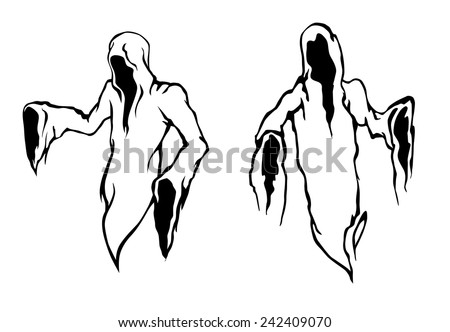 Halloween ghosts and monsters with the frightening empty hooded robes of the Grim Reaper or a monk in black and white vector designs - stock vector