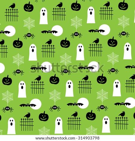 Halloween Ghosts and Pumpkins  - stock vector