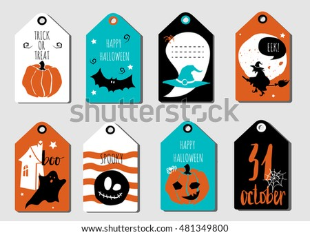 Set Halloween Gift Tags Cute Scary Stock Vector 716848870 ...
