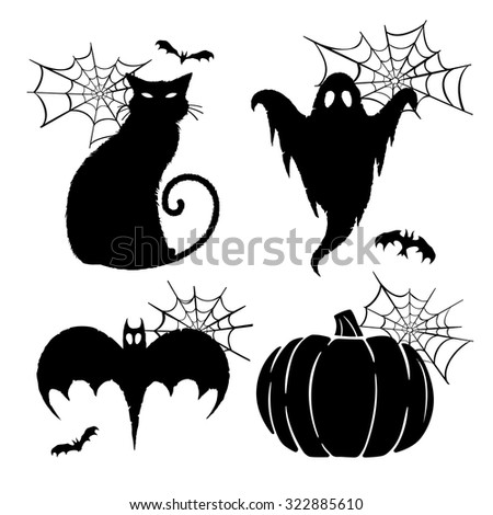 Halloween Graphics. Vector graphics for Halloween featuring bats, spider webs, a ghost, a black cat, and a pumpkin.
