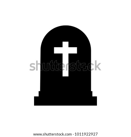 Halloween grave icon silhouette. Gravestone vector illustration. Rip tombstone flat icon. EPS