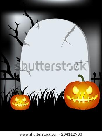Halloween gravestone background - stock vector