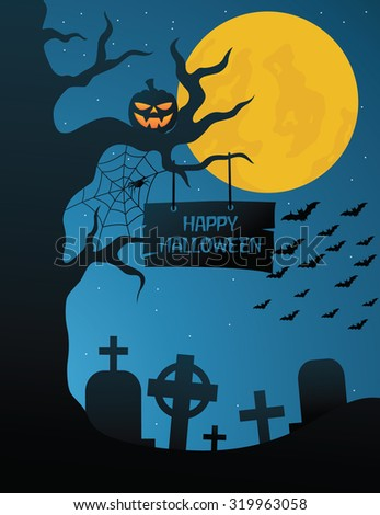 Halloween Graveyard On The Dark Blue Sky With Full Moon And Scary Pumpkin - stock vector