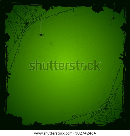 Halloween green background with black spiders and grunge elements, illustration. - stock vector