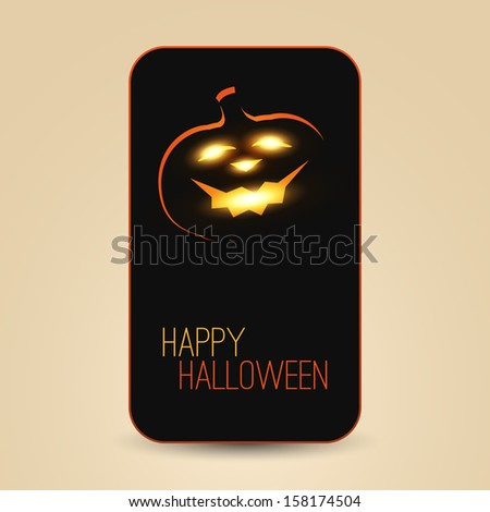 Halloween Greeting Card Design Template - Smiling Pumpkin in the Dark - stock vector