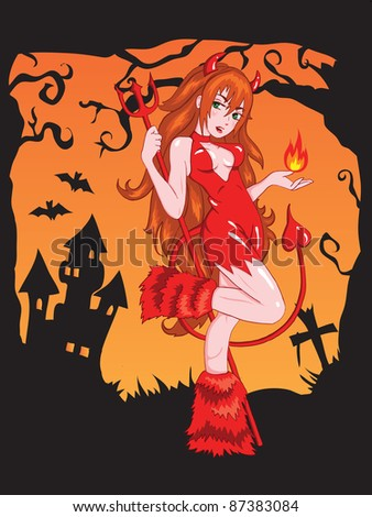 Halloween Greeting Card vector illustration. Devil girl with fire. - stock vector