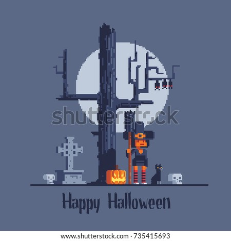 Halloween Greeting Card, Witch On Background With Scary Tree, Pixel Art  Style Vector Illustration