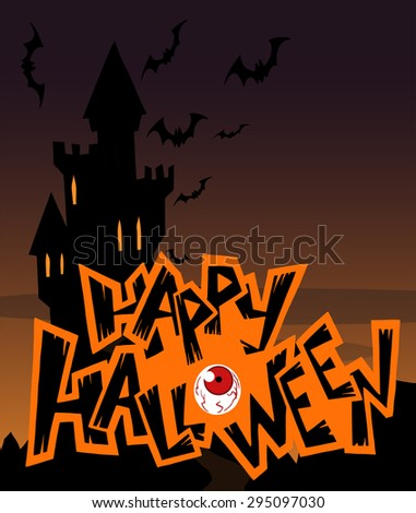 Halloween Greeting Card With A Spooky Castle In Black Silhouette