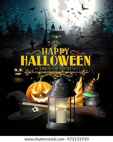Halloween greeting card with black lantern, lights and wooden sign in front of old church
