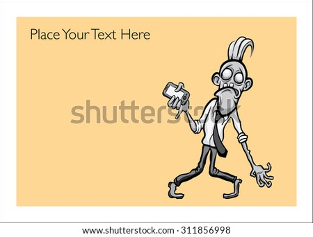 Halloween greeting card with businessman zombie holding-smartphone - personalize your card with a custom text - stock vector