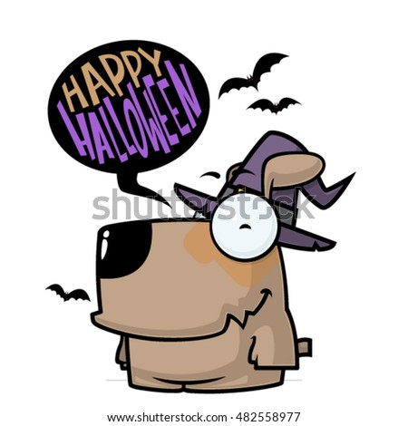 Halloween greeting card with cartoon cock. Vector illustration.