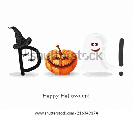 Halloween greeting card with pumpkins, with witch hat, spiders, bat, ghost. Trick or treat. - stock vector
