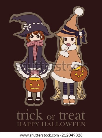 Halloween greeting card with two girls dressed as witches. - stock vector