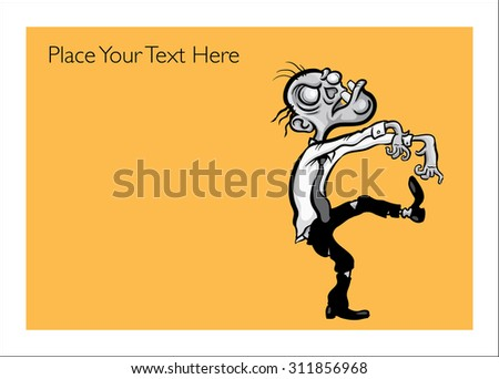 Halloween greeting card with walking businessman zombie - personalize your card with a custom text - stock vector