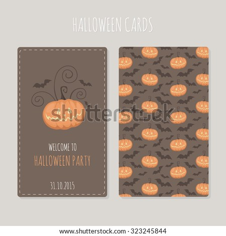 Halloween greeting cards with pumpkins and bats. Scary Halloween backdrop. Horror objects on brown background. Bright funny party card. Cute pattern. - stock vector