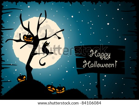 Halloween greeting with full moon, tree, cat and carved pumpkin lantern - stock vector