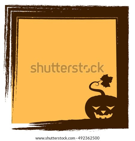 Halloween greeting with pumpkin silhouette and frame - relaxed face