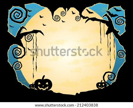 Halloween Grungy Background-Night sky with flying bats and a huge moon surrounded by a gnarled tree frame with plenty of copy space - stock vector