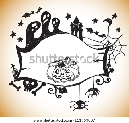 Halloween hand drawn background with place for text, vector