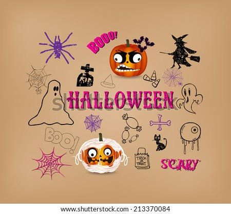 Halloween hand drawn elements  - stock vector