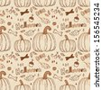 Halloween hand-drawn seamless pattern.  Use for wallpaper, textiles, pattern fills, web page background - stock vector