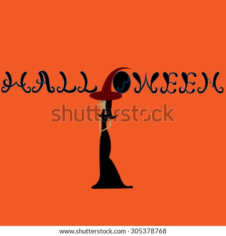 Halloween hand lettering with witch.Typography Vector Background. Handmade calligraphy.  - stock vector
