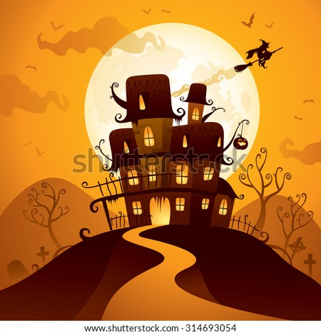Halloween haunted house - stock vector