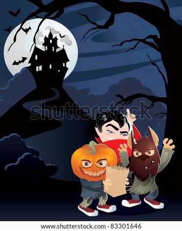 halloween haunted house - stock vector