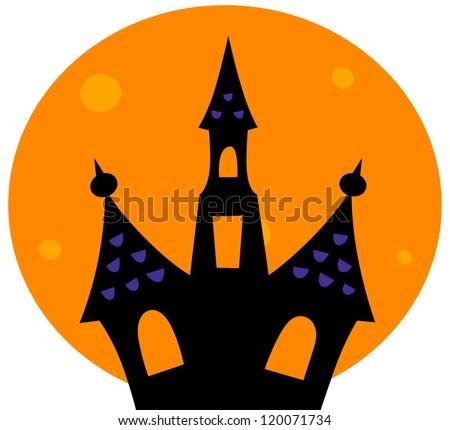 Halloween Haunted house with moon behind - stock vector