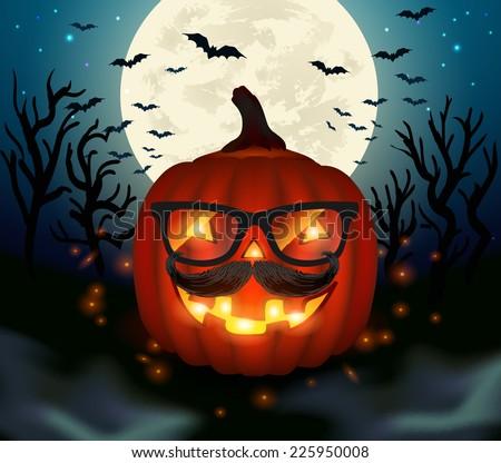 Halloween hipster pumpkin - vector illustration. - stock vector