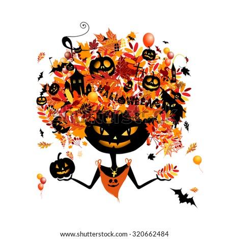 Halloween holiday design, pumpkin head. Vector illustration - stock vector