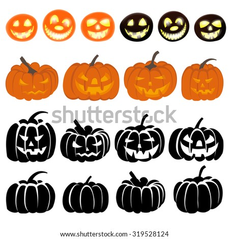 Halloween Holiday Elements Set. Collection With Different Pumpkins Over White Background for Creating Halloween Designs.  Vector illustration. - stock vector