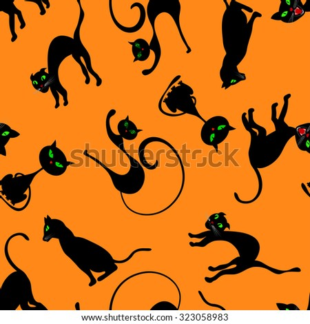 Black Cat Set Of Halloween Silhouette Vector Eps8