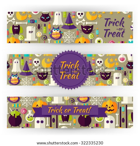 Halloween Holiday Vector Template Banners Set. Flat Design Vector Illustration of Brand Identity for Halloween Party Promotion. Trick or Treat Colorful Pattern for Advertising - stock vector