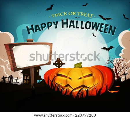 Halloween Holidays Landscape Background/ Illustration of a cartoon funny halloween holidays spooky horror landscape, with wicked pumpkin and blank wood sign - stock vector