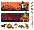 Halloween horizontal cartoon banners 1 - stock vector