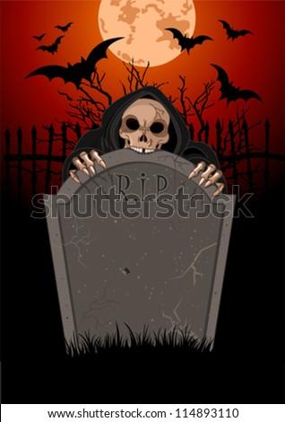 Halloween horrible Grim Reaper over  tomb stone - stock vector