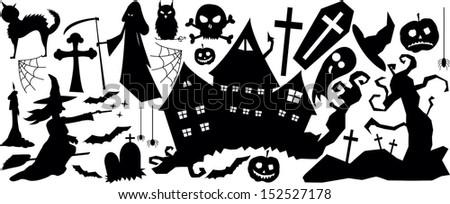halloween horror big set - stock vector