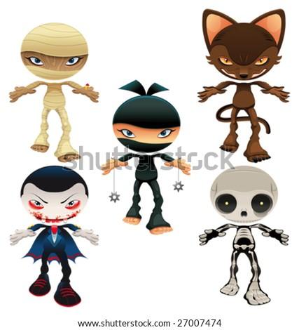 Halloween horror characters - stock vector